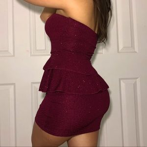 Windsor Store Mini Wine Peplum Dress❤️🍷